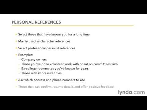 Creating an Effective Resume - Compiling your references - YouTube