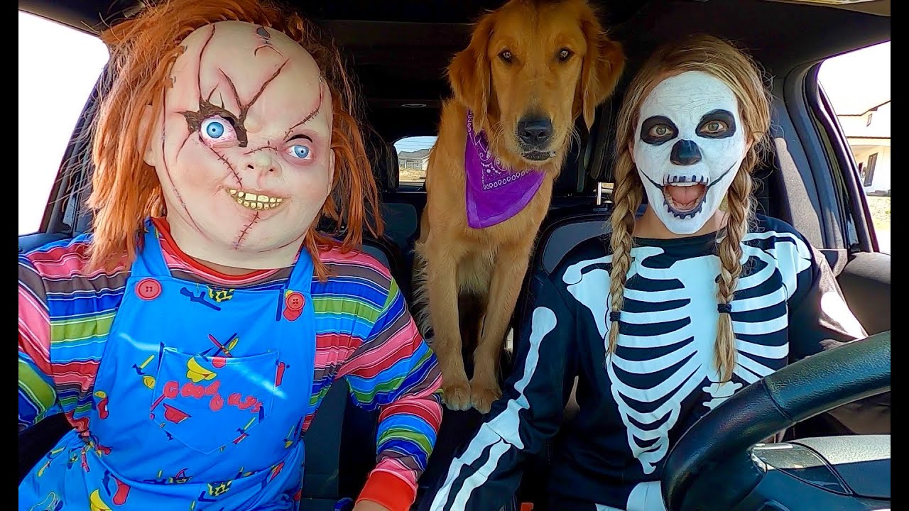 Skeleton Surprises Puppy & Chucky with Car Ride Chase!