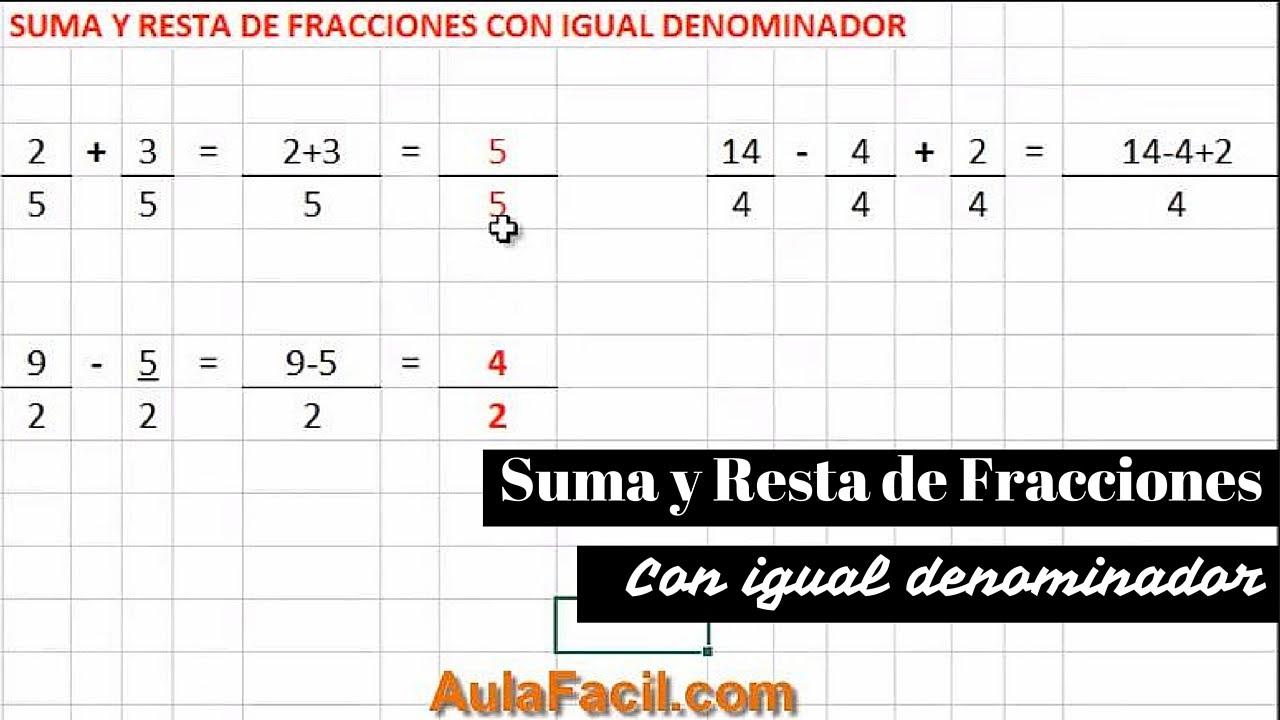 🥇▷【 Suma y Resta de Fracciones - Matemáticas Quinto ...