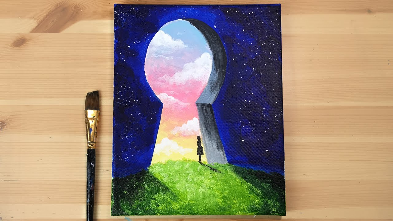 Key To My Dreams Acrylic Painting Easy Step By How Paint Daily Challenge Youtube