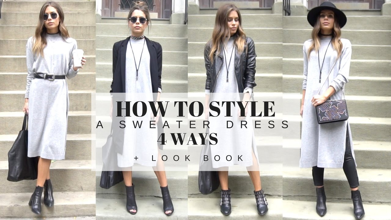 HOW TO STYLE   A Basic Grey Sweater Dress 4 Ways + LOOK BOOK - YouTube 623ae4df7