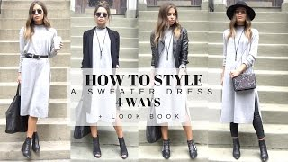 HOW TO STYLE : A Basic Grey Sweater Dress 4 Ways + LOOK BOOK