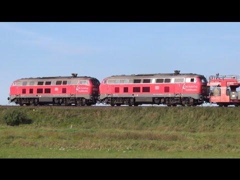 Diesel-Power BR 218 Doppeltraktion mit DB Autozug SyltShuttle - Westerland/Sylt - Hindenburgdamm