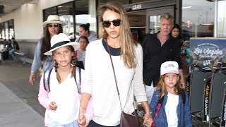 Pregnant Jessica Alba And Her Girls Return From a Summer Trip
