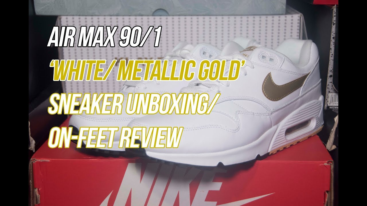 a0ae65c3fa252 Air Max 90 1 White Metallic Gold