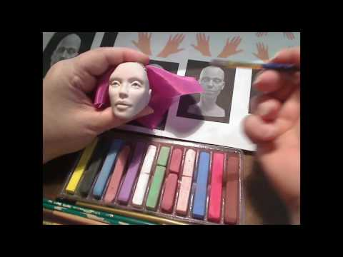 Blushing a Polymer clay head with chalks tutorial Part one