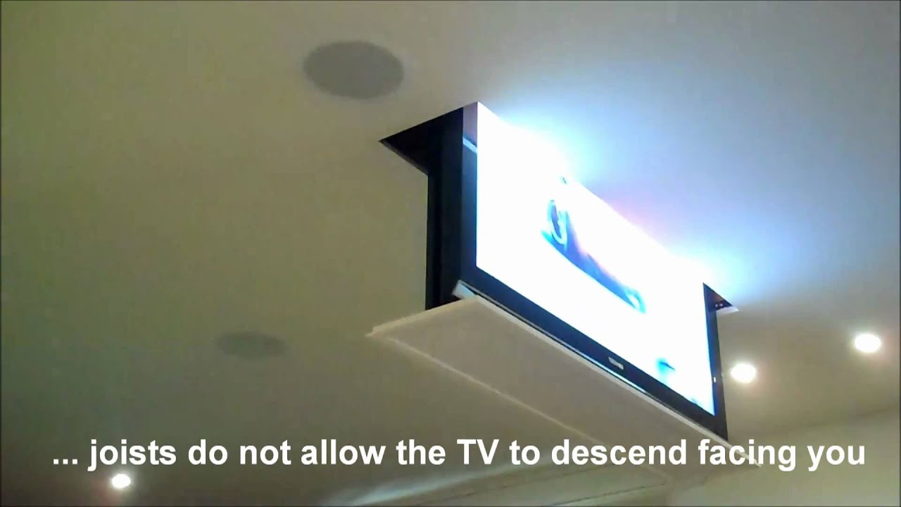 drop down swivel motorized tv lift installation - youtube