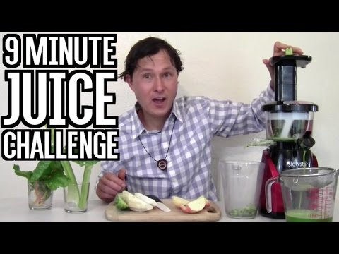 9 Minute Juice Challenge - How to Make & Clean a Slow Juicer Fast!