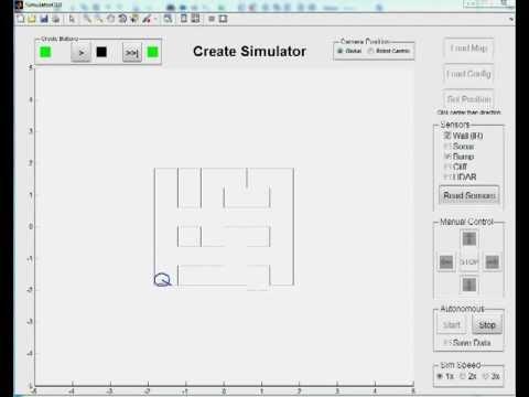 Matlab Simulation for iRobot Create Maze Exploration