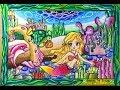 Cara menggambar putri duyung mermaid dengan pemandangan laut yang indah dgn OILPASTEL