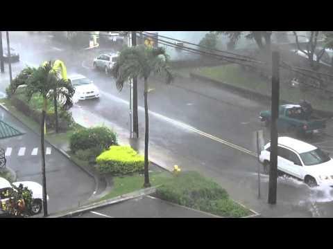 Flash Flooding Downtown Wailuku Maui Hawaii 9/3/2015