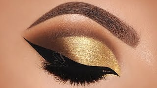 Gold Cut Crease & Cat eyeliner Makeup Tutorial | Melissa Samways