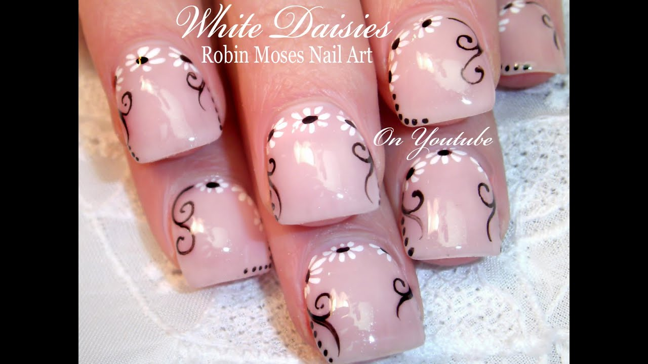 DIY Daisies on short nails | Cute White Daisy Nail Art Tutorial for ...