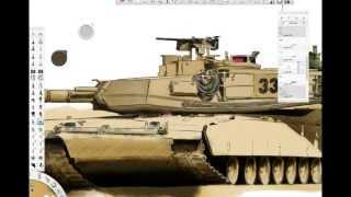 Let`s draw M1 Abrams Part 4/5 (Wacom Cintiq 21UX)