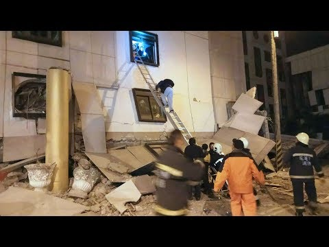Powerful Taiwan Earthquake Topples Buildings - Rescuers Are Trying to Free People