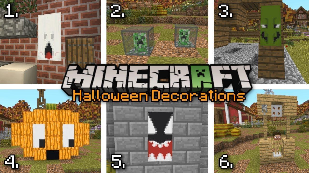 Minecraft - 6 EASY HALLOWEEN DECORATIONS 🎃 Bedrock ...