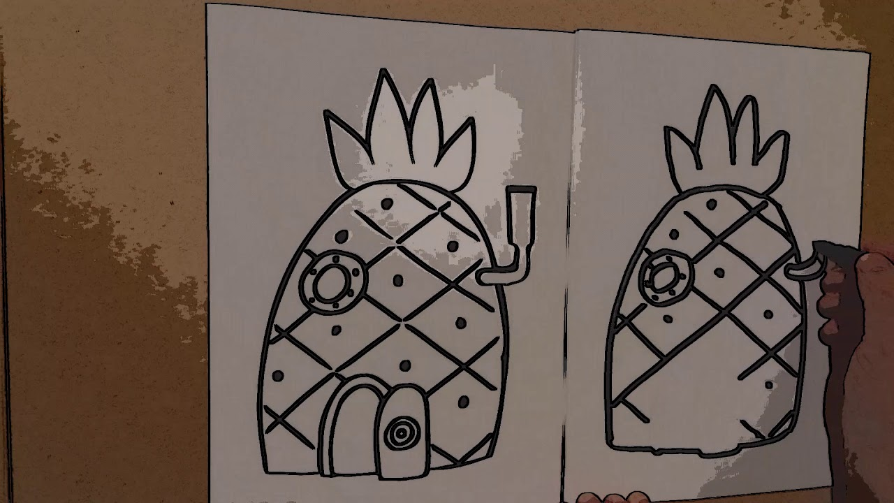 Pineapple drawing spongebob house coloring page drawing video