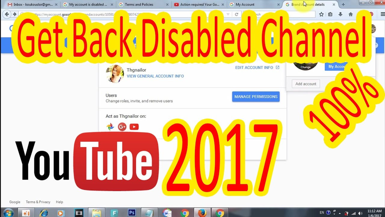 how to add you tube channel to email