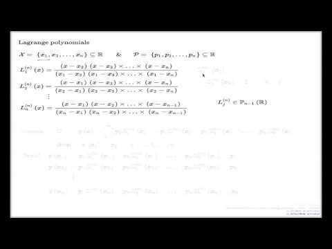 Polynomial interpolation via Lagrange polynomials
