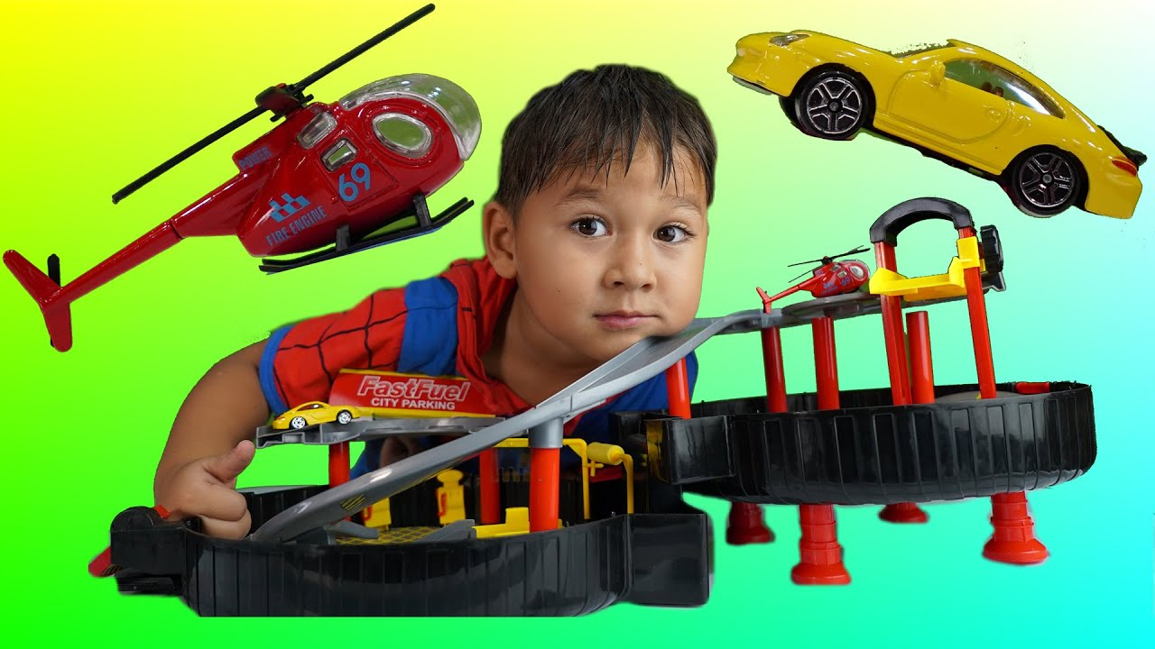 Race Track Toy Surprise Cars Helicopter Family Play Toys Videos