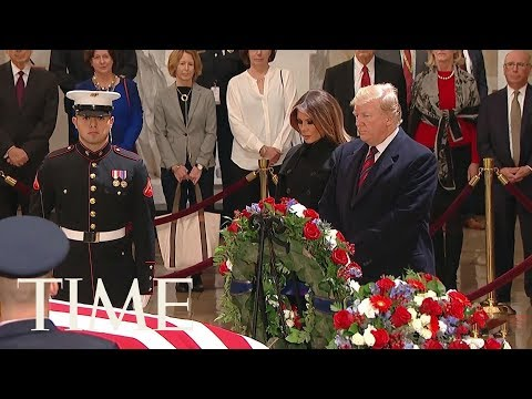 President Trump Made A Surprise Visit To Pay His Respects To George H.W. Bush In The Capitol | TIME