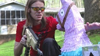 NERF WAR: Fortnite Battle Royale Hunt For The NERF Loot Llama In Real Life! Ft. Aaron Esser