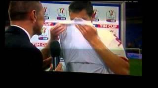 intervista di mattia destro subito dopo la semifinale di coppa italia,inter-roma (ritorno)