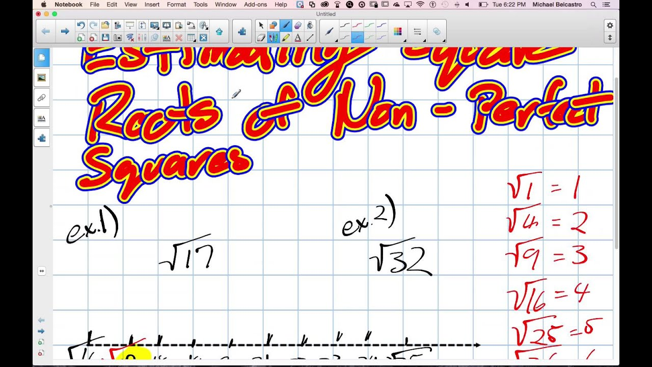 Estimating Square Roots Of Non Perfect Squares Grade 8 Nelson Lesson