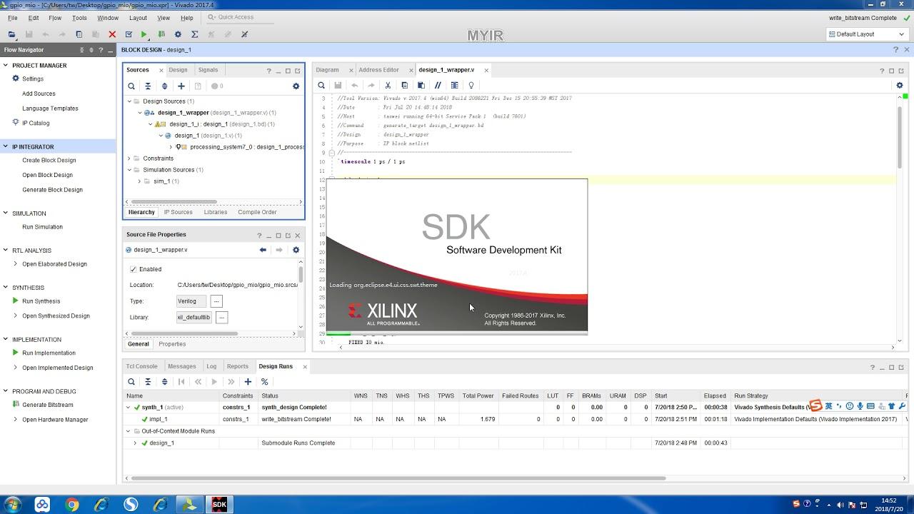 gpio mio project based on Xilinx zynq-7020 Z-turn board