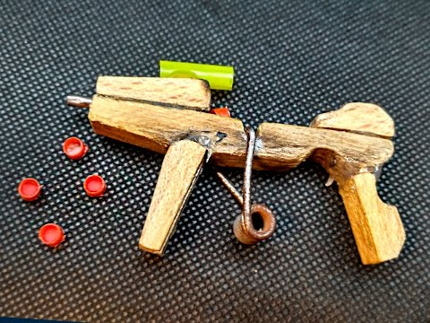 How to Make a Mini UZI (That Shoots) Using Clothespins and Pistons - Tutorial