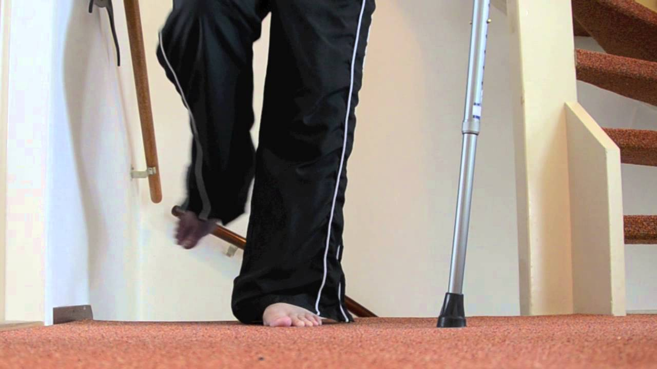 Walking Up Stairs With Crutches Broken Leg Tips Youtube