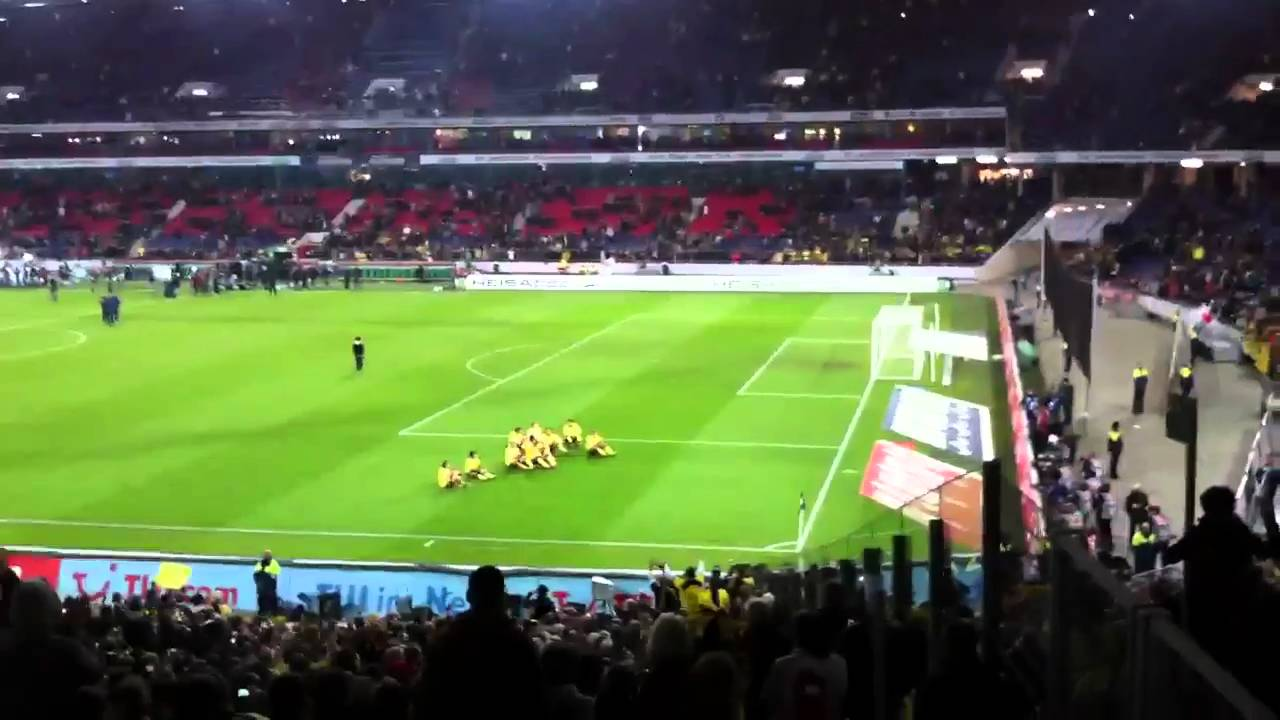 Hannover 96 - BVB 07.11.2010: Mannschaft feiert mit den Fans *HD*