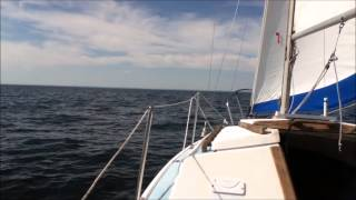 Sailing Courageous on the long Island Sound Catalina 22 sailboat