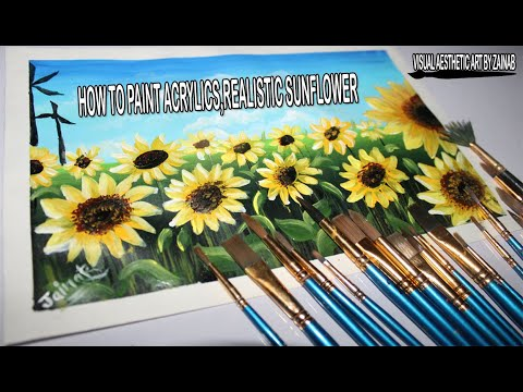 EASY Sunflower Painting for Beginners using Acrylic Colors || Sunflower Field Landscape