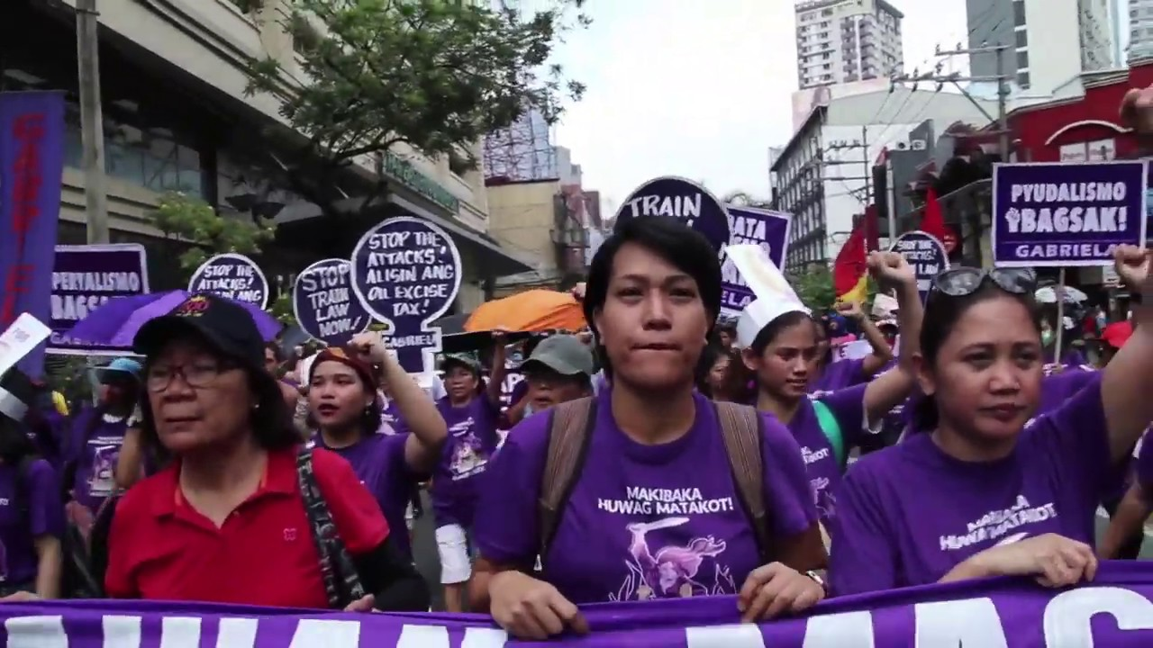 Thousands march against Duterte on International Women's Day
