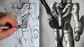 Battroid Drawing [Macross][Robotech]