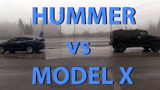 Tesla Model X vs Hummer H2 tug of war