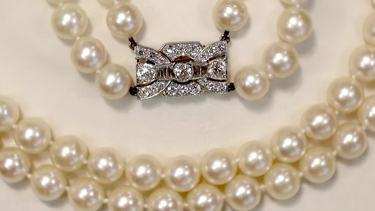 Double Strand Pearl Necklace With 1 78 Ct Diamond Set