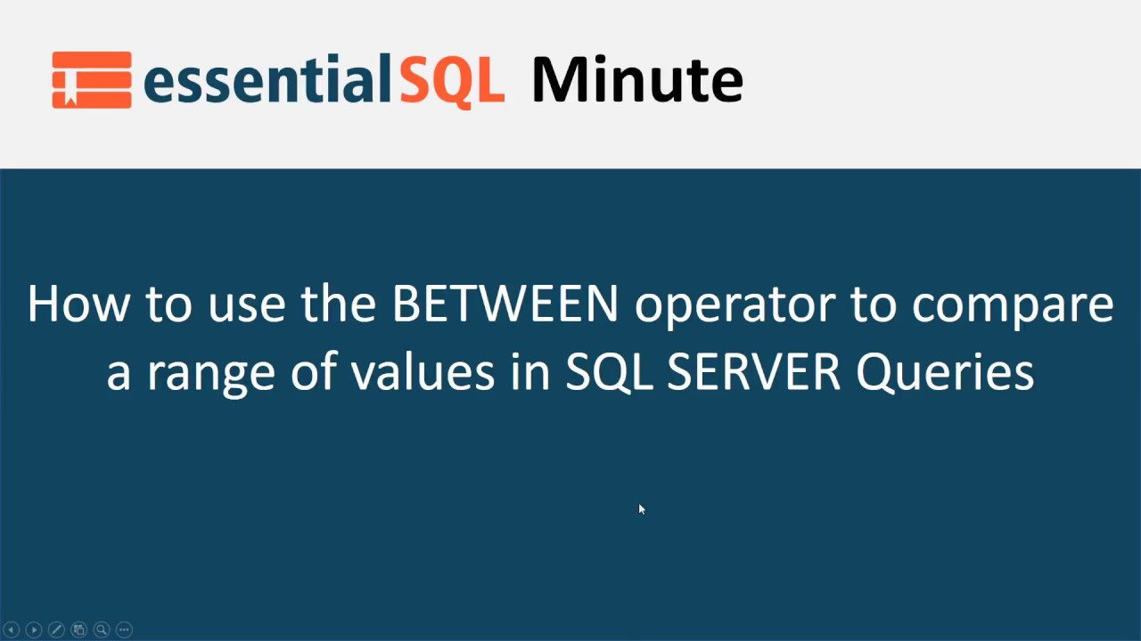 How to use the SQL BETWEEN operator - Essential SQL
