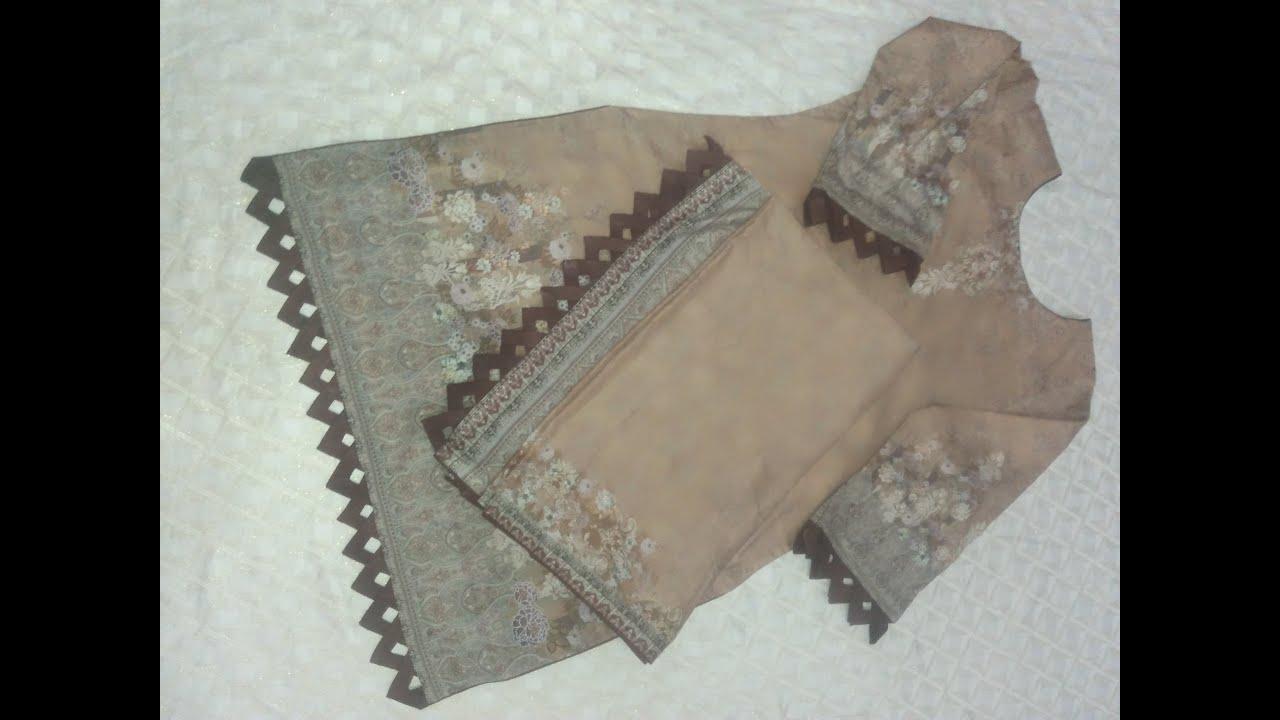 V shape Daman Sleeves and Duppata Pallu Design