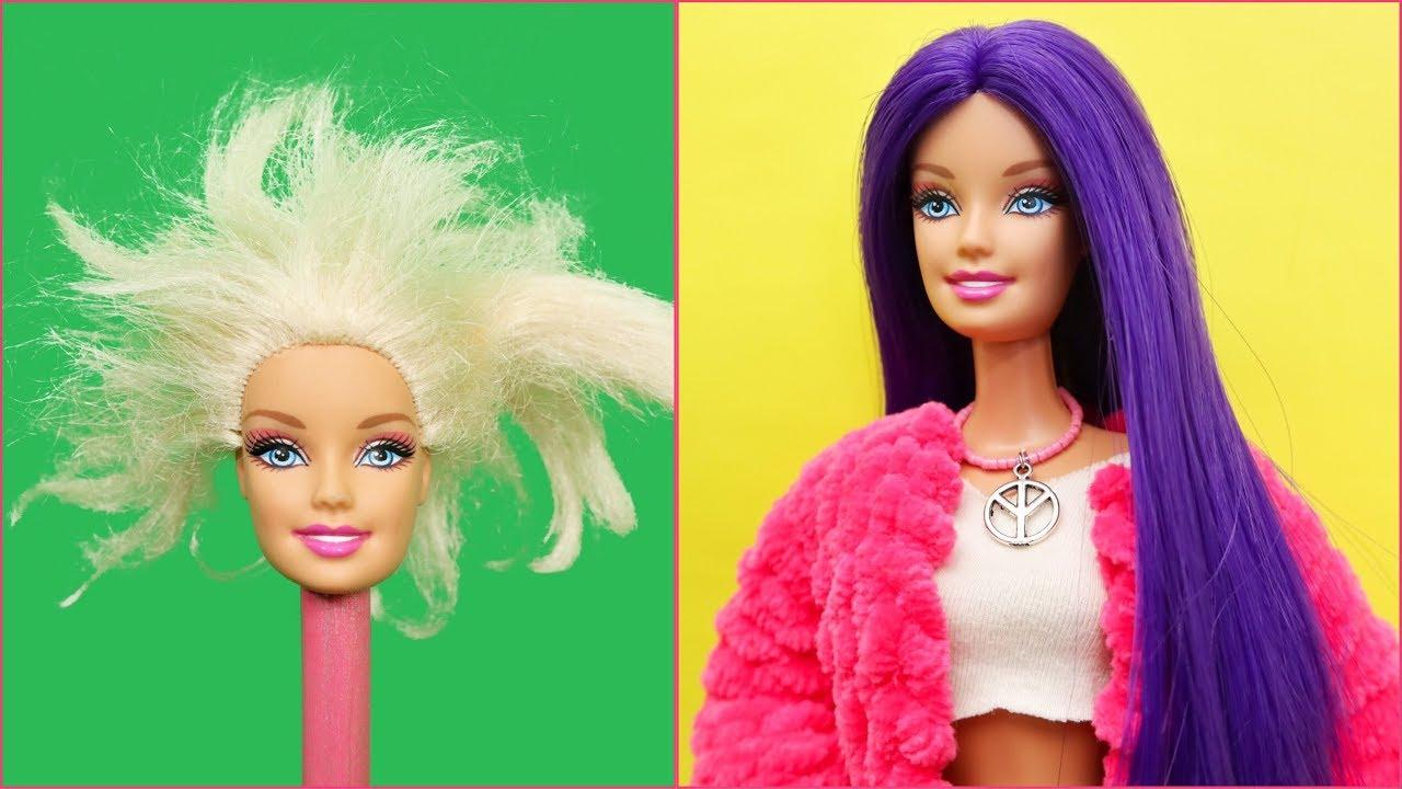 diy barbie doll purple hairstyles