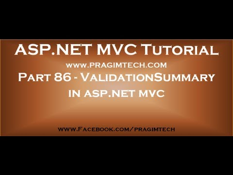 Part 86 ValidationSummary in asp net mvc