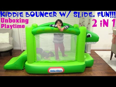 Toddlers and Kids Jumper Playtime: Little Tikes Dinosaur 2 in 1 Kids Bouncer and Slide Unboxing