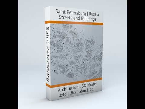 Saint Petersburg Streets and Buildings Architectural 3D Model