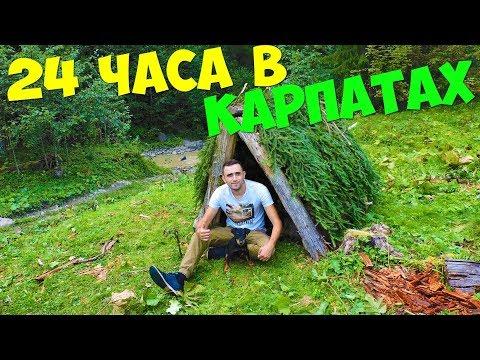 Выживание 24 часа в Карпатах Медведь Ловля форели острогой Шалаш из бревен