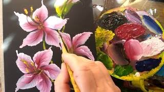 Лилии в технике onestroke
