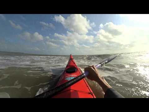 First time launching out in a sea kayak and capsized