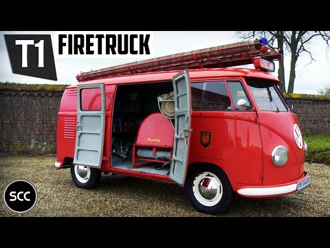 VOLKSWAGEN TYPE 2 T1 TRANSPORTER Double Door Panel Van 1956 - Firetruck - Engine sound | SCC TV