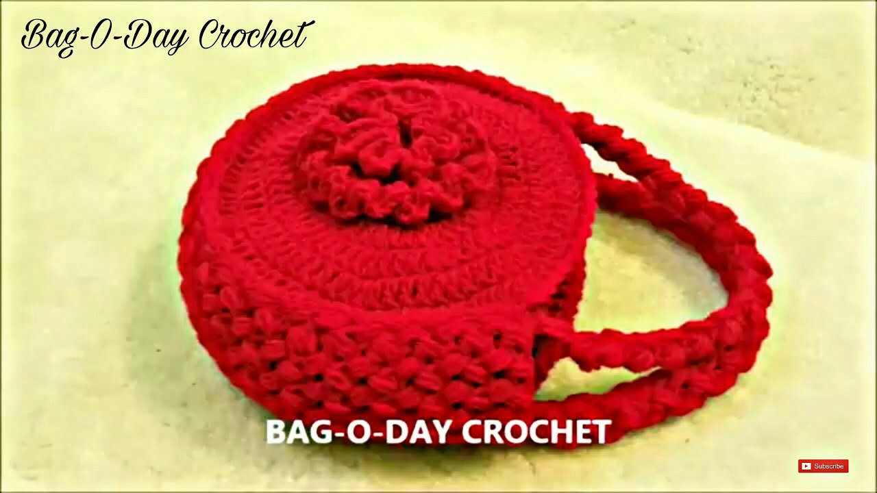 Crochet Bag Youtube : ... Crochet Flower Handbag Purse #TUTORIAL #120 LEARN CROCHET - YouTube