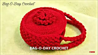 Repeat youtube video CROCHET How to #Crochet Flower Handbag Purse #TUTORIAL #120 LEARN CROCHET